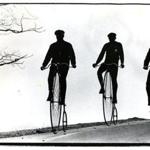 March 31, 1979: Bob Bulens, Bob Sawyer and John Vanderpoel (from foreground), took their high wheel bicycles for a spin around Larz Anderson Park in Brookline. All were members of the Wheelman Club of Greater Boston.